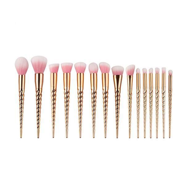 15pcs Professional Gold Makeup Brush Set #professional #gold #makeupbrush #brush #brushset #goodquality #smoothbrushes