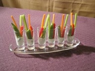 Shooter glasses with veggies and dip | Appetizers | Pinterest