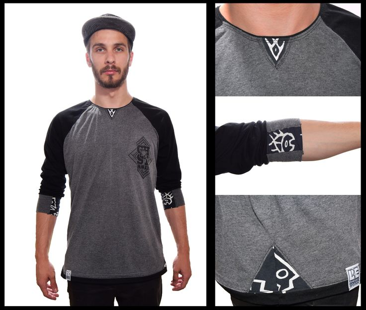 Ghost Custom Clothing fine detailed raglan with grey and black base and blue/white detailing on the sleeve,side and neck