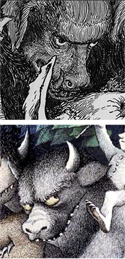 Top. From an illustration for 'The Works of Mr Francis Rabelais' by William Heath Robinson. 1904. Bottom. From 'The Wild Things Parade' by Maurice Sendak. 1963