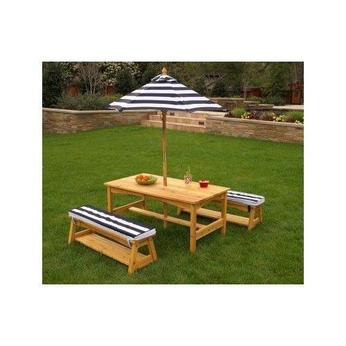 Portable Outdoor Table Chair Set Picnic Cushions Navy Stripes Patio Garden - NEW #KidKraft