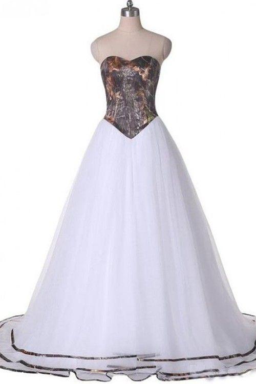 A-line Sweetheart Sweep Train Organza Bridal Dress