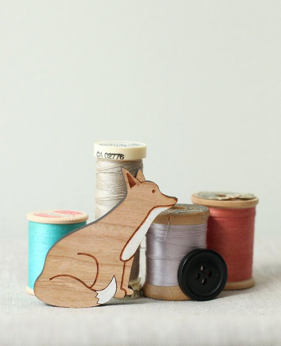 Fox Brooch  Hand painted wood pin  stocking by peppersprouts