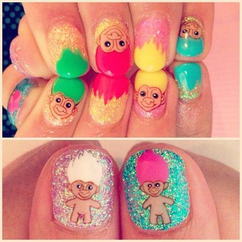 Trolls Movie Nail Art: Treasure Troll Nails! #nails #cute #glitter