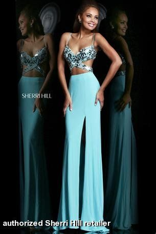 Prom dress by Sherri Hill 21332. This incredibly sexy long gown features an open cut out waist and low back. Flashy beading accents the swee...