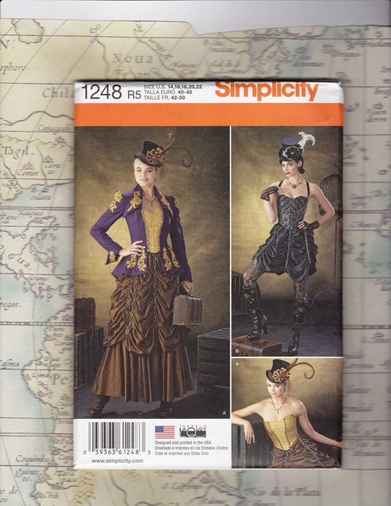 Steampunk - Plus Size Steampunk Costume Pattern Simplicity 1248 by NerdCraftWorld