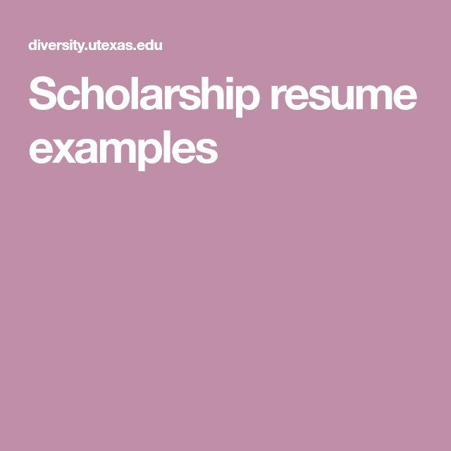 Scholarship resume examples