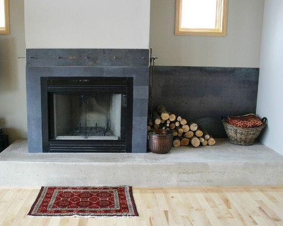 Black Slate Fireplace Surround : Ideas about subway tile fireplace on pinterest
