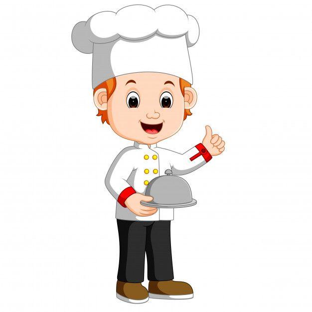 Chef Boy Holding Plate Dish Kids Cooking Set Cute Egg Muffin Cartoon