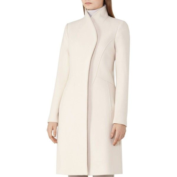 Reiss Fiona Wool-Blend Coat ($550) ❤ liked on Polyvore featuring outerwear, coats, champagne, reiss coat, wool blend coat, reiss, funnel neck coat and ruffle coat