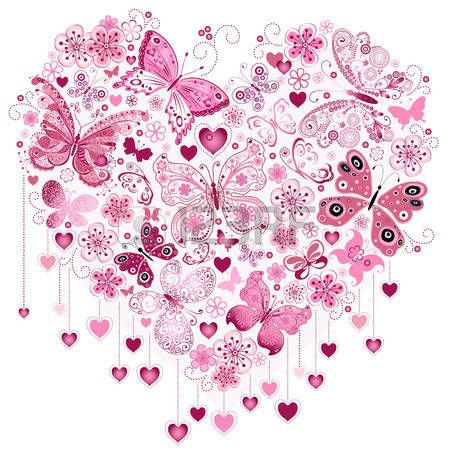 Valentine pink big heart with butterflies isolated on white (vector) photo