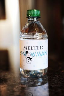 Free Melted Snowman Printable (for water bottles) Fun gift idea for a stocking filler