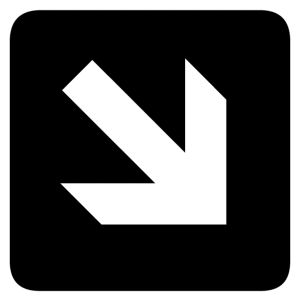 Right and Down Arrow sign