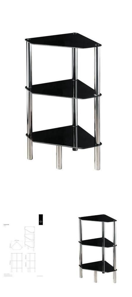 3 Tier End Table Glass Black Chrome Frame Shelves Side Lamp