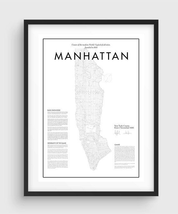 Minimal Manhattan Map Poster THE QUALITY This is a HIGH QUALITY print as an UltraChrome Epson K3© Ink Technology and the finest Enhanced Matte Photo