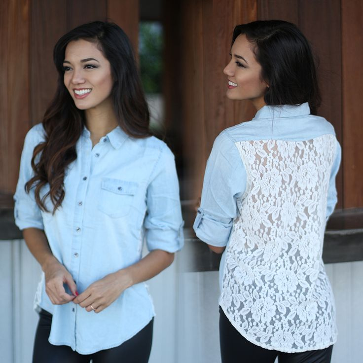Denim lovers BEWARE! You may fall in love with this Denim Shirt With Lace Back! A basic button up denim shirt with a twist! Its delicate lace back detail is just perfect to dress up this denim button up shirt! The button up / rolled up sleeves are the perfect detail to go along with its ivory lace back! Check out other cute denim tops at our trendy online boutique!