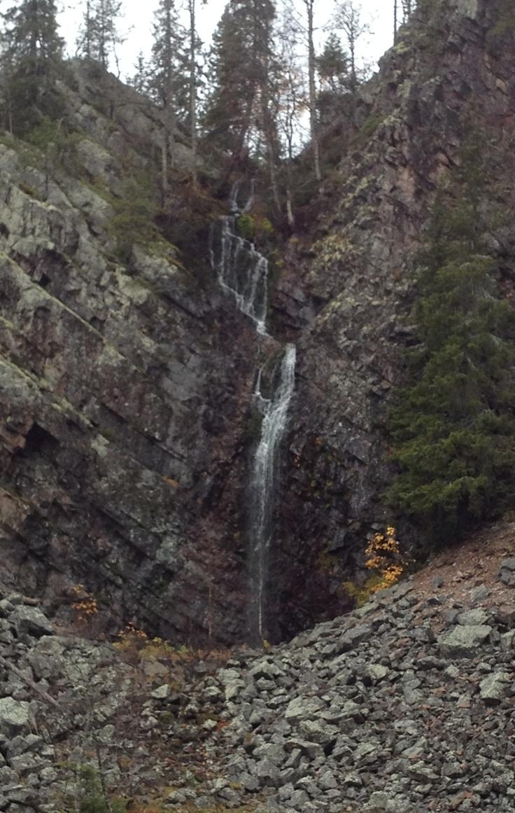 Pyhänkasteenputous waterfall in Isokuru gorge, Pyhä-Luosto national park