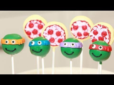 ▶ TEENAGE MUTANT NINJA TURTLES CAKE POPS - NERDY NUMMIES - YouTube