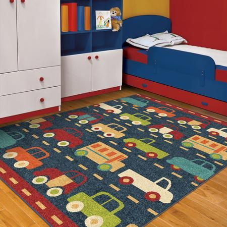 Orian truck traffic fun kids 39 area rug blue nursery for Kids room area rug