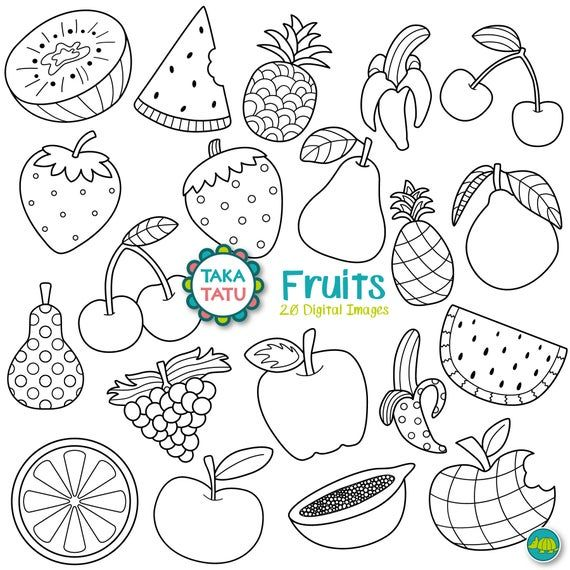 Fruits Digital Stamp Pack Black And White Clipart Fruits Clipart Healthy Food Clipart Watermelon Apple Strawberry Pineapple In 2021 Digital Stamps Greeting Card Art Space Doodles
