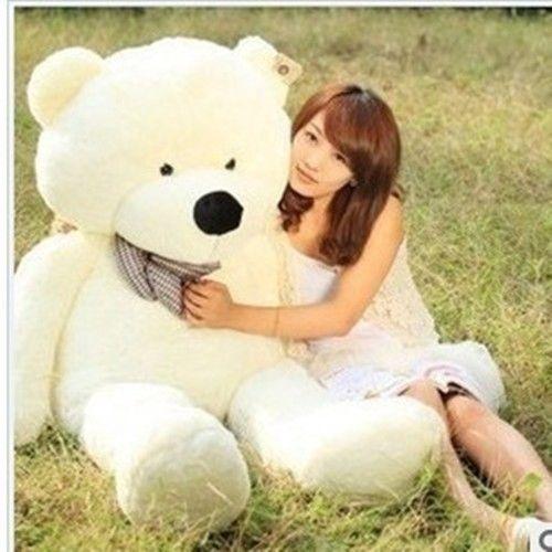 #TeddyBears #Teddy #Bears GIANT 120CM BIG CUTE Beige PLUSH TEDDY BEAR HUGE WHITE SOFT 100% COTTON TOY #TeddyBears #Teddy #Bears