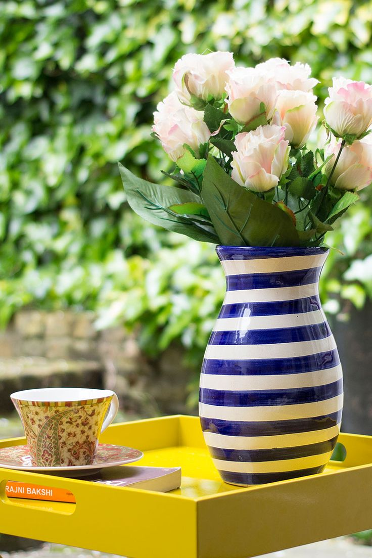 blue stripes vase | made in mexico by traditional talavera artists | Perfect to add an eclectic touch to your space
