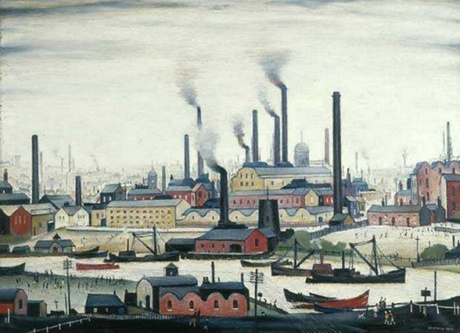 Painting by Artist L.S Lowry | Black smoke and chimneys |