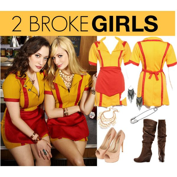 Halloween - 2 broke girls costume by almostviola on Polyvore featuring Jessica Simpson, Topshop, BKE, Ileana Makri, 8PM, tvseries and 2brokegirls