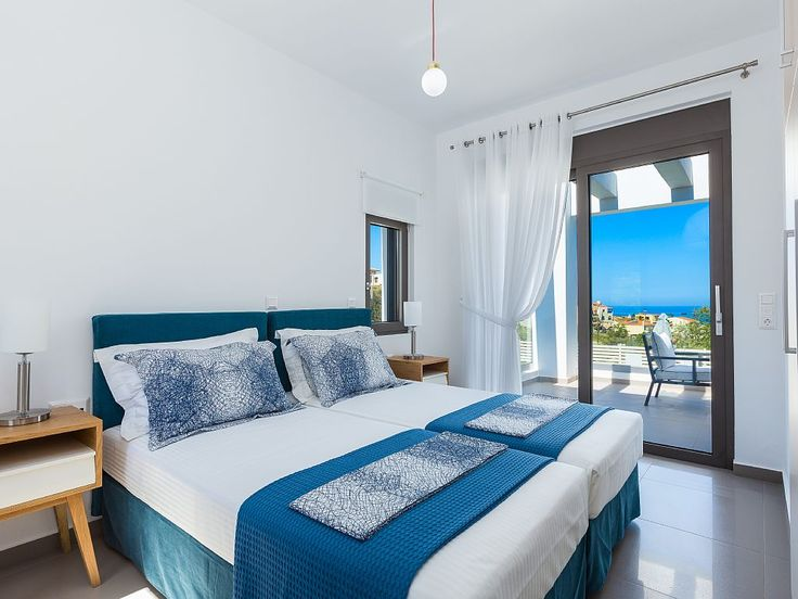 Rethymno villa rental - Amazing sea view from the twin bedroom!