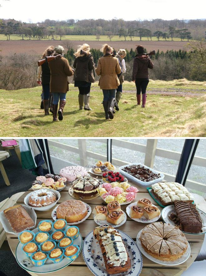 Alternative hen party ideas: clay pigeon shooting and cake. Image © shootingandchelseabunclub.co.uk   Visit wedding-venues.co.uk https://twitter.com/CHWV