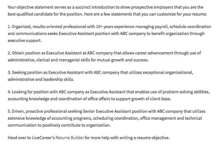 Executive Assistant Resume Objectives -    resumesdesign - resume objective statement for management