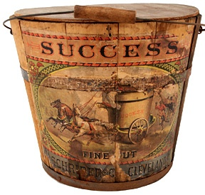 Success Tobacco Bucket 1874. Love the graphic with the horses and the chariot.