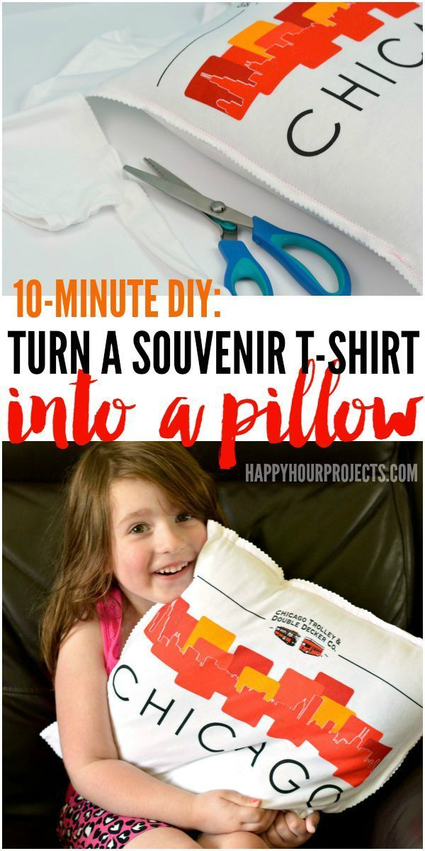 How to Turn a Souvenir T-Shirt Into a Pillow in just 10 Minutes at www.happyhourprojects.com