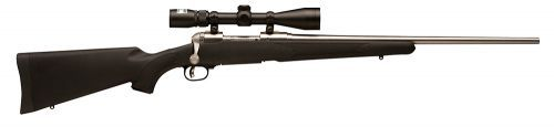 The Savage Arms 16/116 Trophy Hunter XP is chambered in 338 Federal with a 2+1 capacity. It has an 22 barrel and has a Nikon 3-9x40mm BDC Reticle Scope.