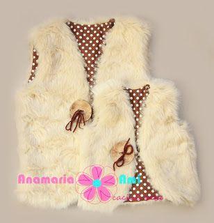Vestuta Blanita bej cu buline maro by Anamaria Ami fur vest girl crem