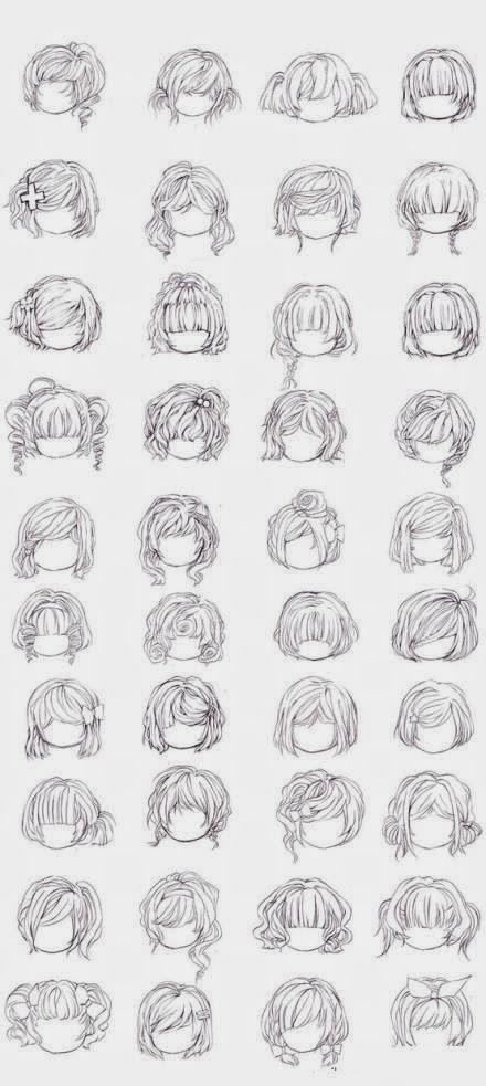 Ideas bonitas para peinados dibujos Fotos de consejos de color de pelo - Artes 40 Estilos de Peinados Manga para Chicas. en 2019 ...