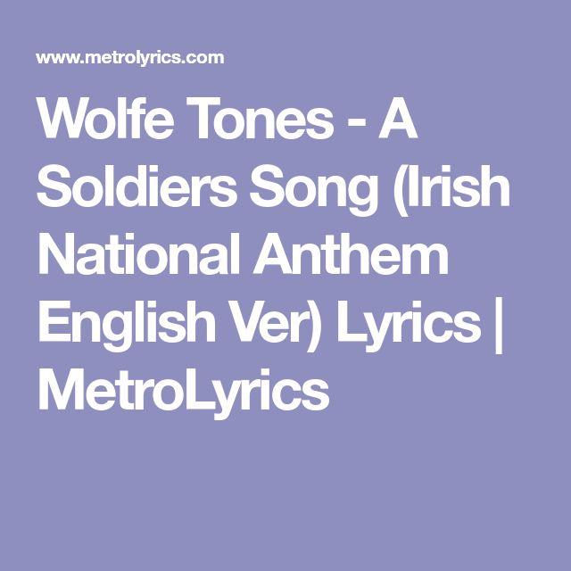 Wolfe Tones - A Soldiers Song (Irish National Anthem English Ver) Lyrics | MetroLyrics