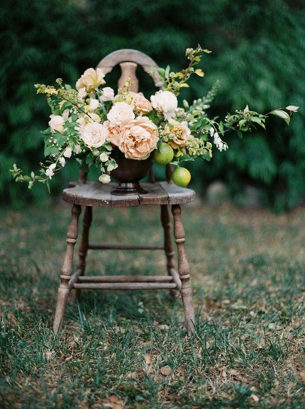 Peach and Citrus Spring Centerpiece | Taralynn Lawton Photography | http://heyweddinglady.com/ethereal-spring-fine-art-rose-garden-wedding-shoot/