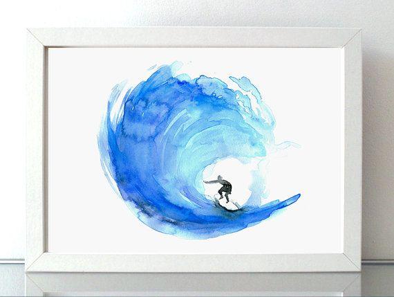 Surf schilderij - giclee print - golf illustratie - surfer poster - aquarel zee - aquarelle surfen - surf kunst - afbeelding golfsurf