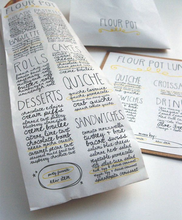 Flour Pot Bakery has innovative packaging that encourages shoppers to read the menu and think about what to order next time on their way OUT of the store