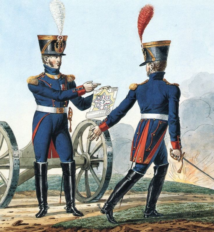 French Army 1812 Artillery Officers by Vernet