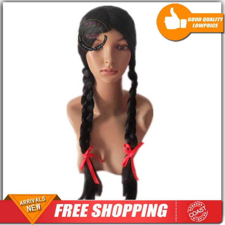 26  ( 200 г ) женская черная плетеные косы школьница парик синтетические парики костюм аксессуар бесплатная доставка QY-922740