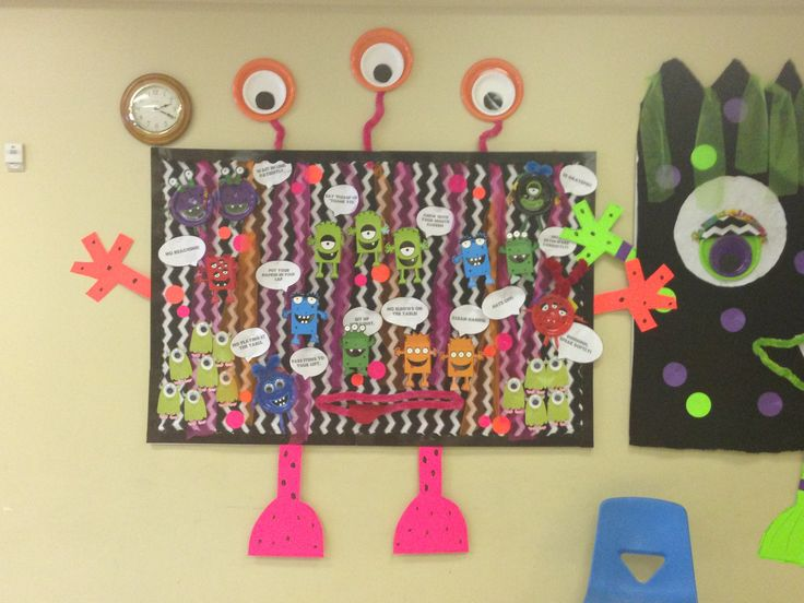 Cute monster bulletin board in cafeteria.  Manners theme. I have to figure out a way to adapt this to my Monster Math Fact Challenge hallway display.