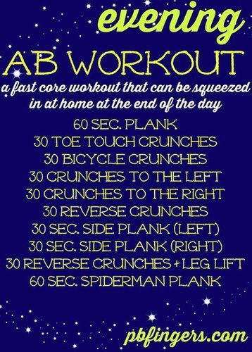 Great AB workout to end your night...or even start your morning. It can even be your lunch break! JUST DO IT!