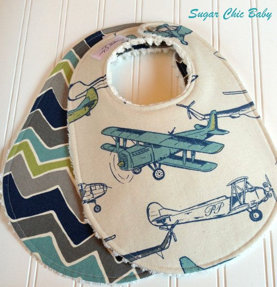 Baby Bibs for Baby Boy  - Set of 2 Triple Layer Chenille Bibs - Vintage Airplanes  & See Saw Chevron on Etsy, $17.00
