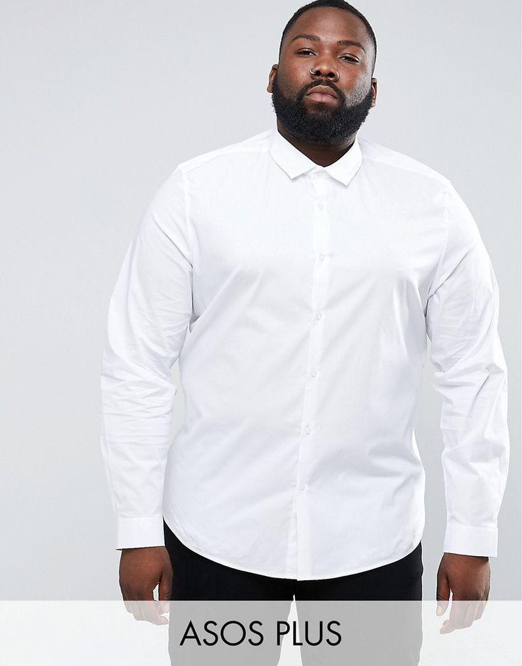 ASOS PLUS Slim Shirt With Stretch In White - White