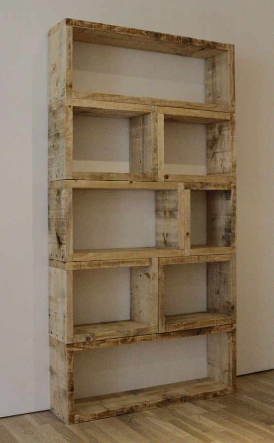 DIY Rustic Bookcase! This is so simple yet effective. 2×8 modular construction.                                                                                                                                                                                 More