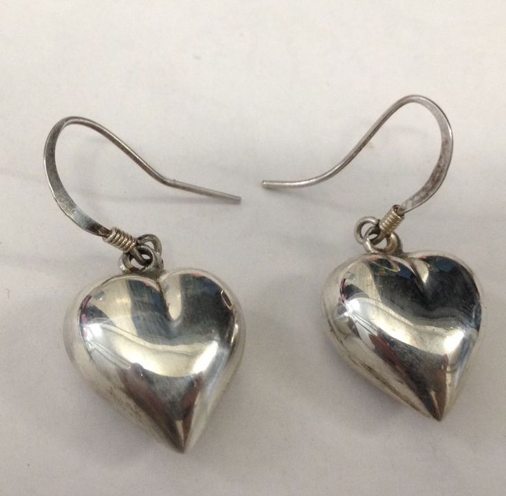 Sterling Silver 925 Dangling Puff Heart Pierced Earrings 4.6 Grams  | eBay