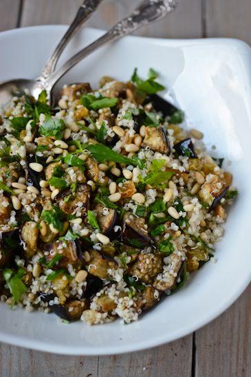 Roasted eggplant quinoa pilaf