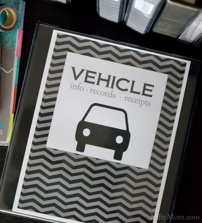 Vehicle Binder Cover. Print off free car maintenance printables to put in binder.